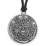 Collar con amuleto de telegramaton, forma de pentagrama, joyas de estilo pagano, brujería