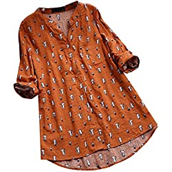 Darringls Remera Mujer,Camisetas Talla Grande Hoodie Blusa Algodón de Lino Remera Cosiendo Manga Larga (Naranja 3, L)
