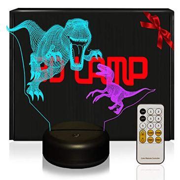 3D Lampes avec Télécommande, QiLiTd LED Lampe 7 couleurs Lumière Dimmable Tactile Interrupteur USB/Batterie Insérer, Decoration Anniversaire Cadeau Noël Pour Bébé Enfant Ado Femme Homme
