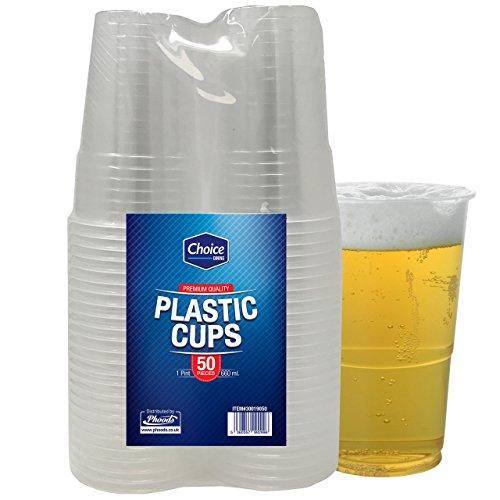 Confezione da 50robusti bicchieri da birra in plastica usa e getta, ideali per feste e per ogni...