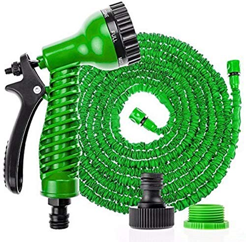 TOPHAVENS Plastic 15m Water Spray Jet Gun Hose Pipe for Garden/Car/Bike/Pet Wash(Multicolour)