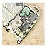 Custodia da viaggio organizer clothes Storage Bags PACKING Cube 6pcs un set, Grey, as description