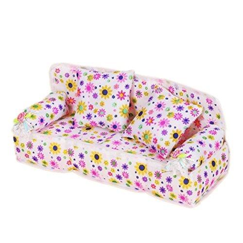YShon mobili Mini Fiore Divano Divano con 2Cuscini per Barbie Doll House Accessories