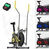 We R Sports 2-en-1 Elliptique Traverser Entraîneur & Exercice Vélo Maison Aptitude Cardio Faire du Sport Machine (Jaune)