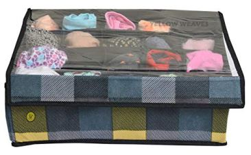 Yellow WeavesTM Undergarments Organizer/Foldable Storage Box with Lid for Drawers, Color - Multi 6