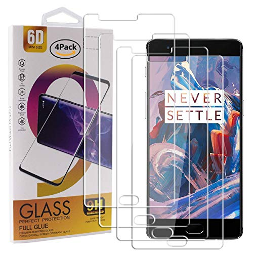 Guran 4 Paquete Cristal Templado Protector de Pantalla para Oneplus 3 / Oneplus 3T Smartphone 9H Dureza Anti-Ara?azos Alta Definicion Transparente Película