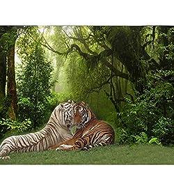 Beau Fond D'écran 3D Frais Vert Original Forêt Branches Grand Arbre Paysage Tigre Animal Plein Maison Fond Mur Tissu De Soie (W)400x(H)280cm