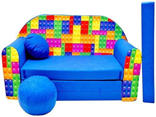 PRO COSMO C32Bambini Divano Letto con Pouf/poggiapiedi/Cuscino, Tessuto, Multicolore, 168x 98x 60cm