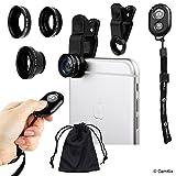 Kit Universale 3in1 Lenti Fotocamera e Telecomando Otturatore per Smartphone, include Telecomando Otturatore Fotocamera Bluetooth, Fish Eye, 2in1 Macro e Grandangolo, Clip Lente