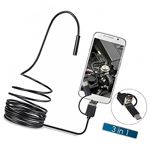KKmoon Endoscopes Type-C & Micro USB & USB 3 in 1 Inspection Camera Borescope Waterproof IP67 for Android Phones PC