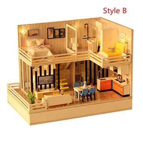 Minsong DIY 3D Dollhouse, Kit De Muebles En Miniatura De Madera Mini Doll House Playset, Los Mejores Regalos De Cumpleaños De Navidad para Niños Y Adultos (B)
