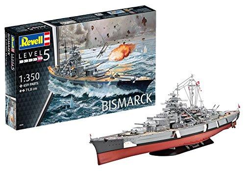 Revell Maqueta del Acorazado Bismarck, Modello, Escala 1:350 (5040) (05040),, 71,8 cm de Largo (