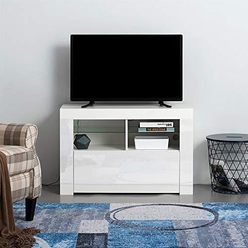 T.Mullen - Mobile TV Moderno, 100 cm, Bianco Opaco e Bianco Lucido, con luci LED RGB Bianco