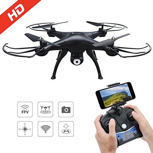 AMZtronics Drone con Telecamera 720P HD Camera WiFi FPV Hover Drone Camera Regolabile Telecomandato...