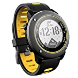 UW90 Rugged Outdoor Sports Smart Watch with Bluetooth Activity Tracker Pedometer Steps Caloires Distance Stopwatch 50M Waterproof for Running Walking Hiking (Yellow)