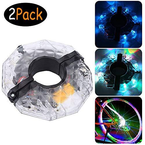 2 set di LED ruota di bicicletta Luci 3 Modalità di Illuminazione 4 LED colorati razze Luce per...