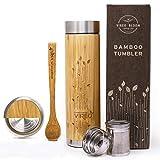 Vireo Bloom bambù flacone di infusore per tè e Frutta in Acciaio Inox - Vuoto e Isolamento Termico - 480 ml - Bottiglia Isolamento Termico Acciaio Inossidabile Interno - Cucchiaio di Legno Bonus