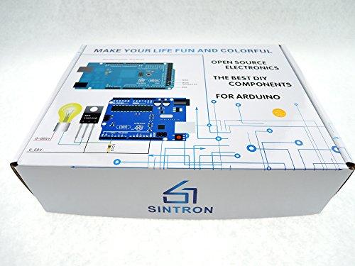 51M4yPSUsSL - [Sintron] Arduino Uno R3 Board Starter Kit with PDF files & Tutorial CD en español + Transparent Acrylic Case LCD Servo Motor Sensor Module etc, for Arduino Starter Learner