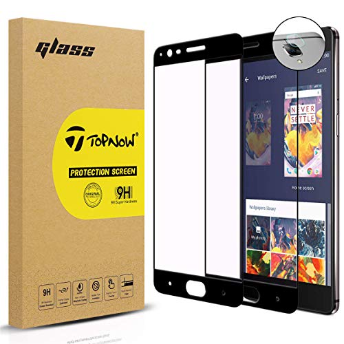 [2 Pack] Topnow protector de pantalla + Película de lente for OnePlus 3 / OnePlus 3T, 2.5d Cobertura completa 9H Dureza Vidrio cristal templado para One Plus 3 / One Plus 3T -- Negro Black