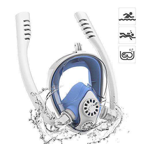 Maschera Subacquea 180° Panoramica Snorkeling Maschera 2019 Nuovo Doppio Tubo con Rimovibile per GoPro Camera, Easy Breathe Antiappannamento e Anti-Infiltrazioni per Adulti e Bambini(Bianco Blu L/XL)