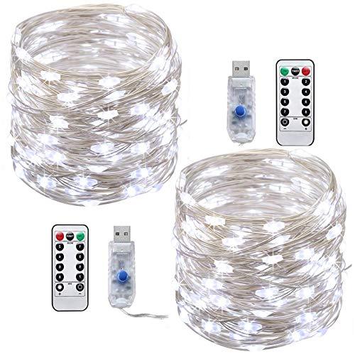 Stringa Luci Led ,Tonskooners [2 set] 8 modalità 10M 100 LEDs Filo di argento Catene Luminose USB...