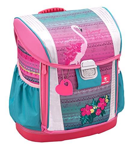 Belmil 404-20 Schulranzen ergonomischer Schulranzen Größen verstellbar Mädchen 1. klasse 2. klasse 3. klasse - gepolsterter Hüftgurt und Brustgurt/Flamingo (Pink Flamingo)