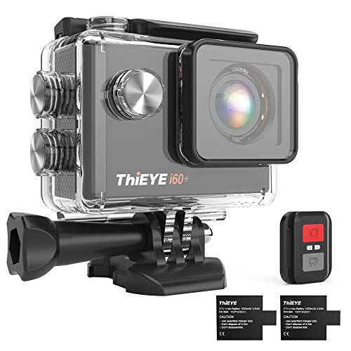 ThiEYE i60+ Action Camera 4K WiFi 20MP 170° Grandangolare 2.0'' LCD HD Screen 2.4G Telecamera Videocamera 60M Subacquea Impermeabile con Telecomando Due 1050mAh Batterie e Kit Accessori