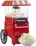Rosenstein & Söhne Popcorn Maker: Retro-Heißluft-Popcorn-Maschine, Miniatur-Rollwagen-Optik, 1.200 Watt (Popcorn-Automat)