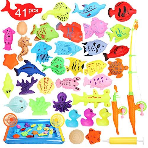Ucradle Giocattolo Pesca Magnetico, 41 PCS Gioco di Pesca con Magnete Impermeabile Gioco educativo di Bagno Giocattolo, Grande Regalo per Todders Bambini con Pesci