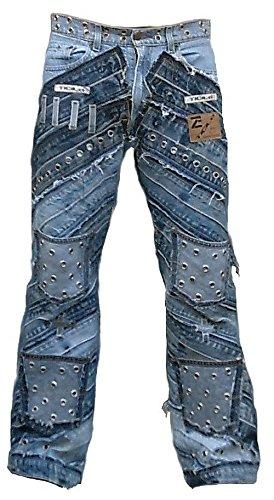 TICILA Seven Star Gringo Herren Jeans blau Designer Rock Star...