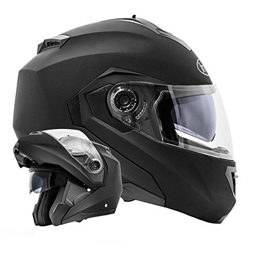 ATO Moto Montreal Schwarz matt Größe L 59-60cm Klapphelm mit Doppelvisier System und der neusten Sicherheitsnorm ECE 2205
