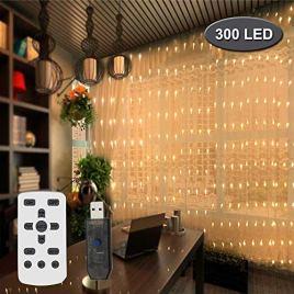 ACITMEX Rideau lumineux à 300 LED 3 m x 3 m étanche 8 modes Guirlande lumineuse Blanc chaud Pour Noël, mariage, fête chambre à coucher et décoration extérieure