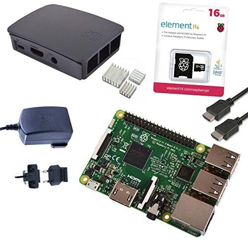 51MQNP2M08L - Melopero Raspberry Pi 3 Official Starter Kit Black, con Cargador Oficial, Caja Oficial, microSD Oficial de 16GB con Noobs, Cable HDMI y disipadores