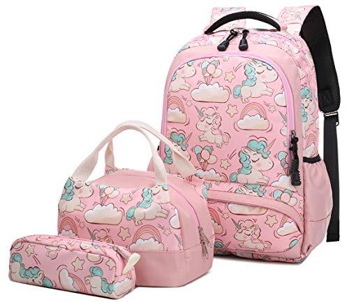 Schultasche 3 Teile Set für Mädchen Niedlich Einhorn Druck Freizeitrucksack Frauen Reise Daypacks Girls Backpack,Rucksack Schule + Lunchpaket Tasche + Mäppchen(Rosa)