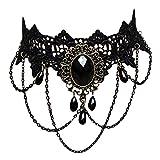 Contever® Girocolli Collana Donna Retro Gotico Tattoo Lace Choker Tatuaggio Collana  con Perlina Nero, Lunghezza: 11.8 - 13.7 Pollici