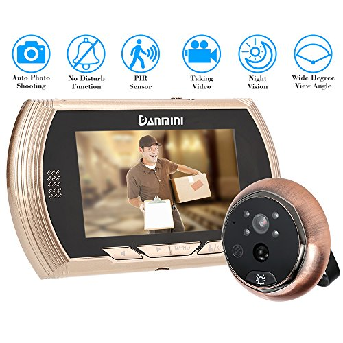 "KKmoon 4.3"" LCD Mirilla Digital Timbre para Puerta PIR Cámara Video Visión Nocturna 3 Modos con Tarjeta TF 4GB Seguridad Hogar"