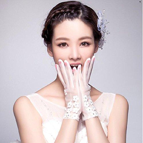 AJUNR Matrimoni Feste Accessori Prom Guanti i fiori le spose stile coreano garza guanti pizzo da...