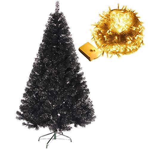Nero Artificiale Albero di Natale con 100 LED Battery Operated Natale Luci Leggiadramente della Stringa Bianco Caldo, con Supporto in Metallo,120cm