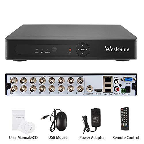 Westshine 16 canali 1080N CCTV Videoregistratore DVR/NVR H.264 16CH HDMI Sicurezza Video Recorder Email Allarme di Rilevamento del Movimento,No HDD Incluso