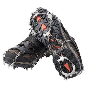 AUHIKE 19 Garras de Dientes Crampones Cubierta Antideslizante de Zapatos con Cadena de Acero Inoxidable para Excursiones Pesca Escalada Trotar Montañismo Caminata sobre Nieve y Hielo 12