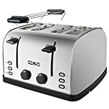 OZAVO Toaster 4 Scheiben, Brötchenaufsatz, 7 Bräunungsstufen, Zentrierfunktion, mit Abnehmbarer Krümelschublade, Edelstahlgehäuse, 1500W