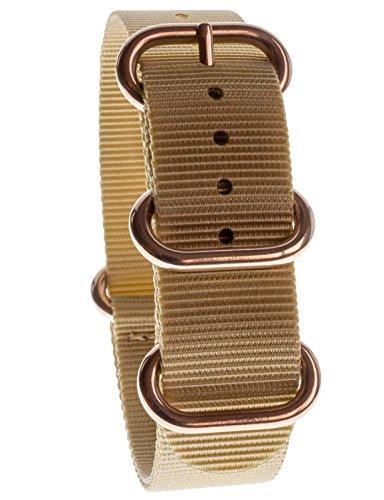 Yves Camani Unisson, Cinturino per orologio, 20 mm, in nylon, beige, nuovo