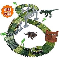 Pista Coches Juguetes 142pcs Flexible Circuito Carrera Coches -2 Dinosaurio Juguetes 1 Vehículos Militares 4 Arboles, 2 Pendientes, 1 Puerta y 1 Puente DIY Conjunto de Juguete para Niños 3 4 5 Años