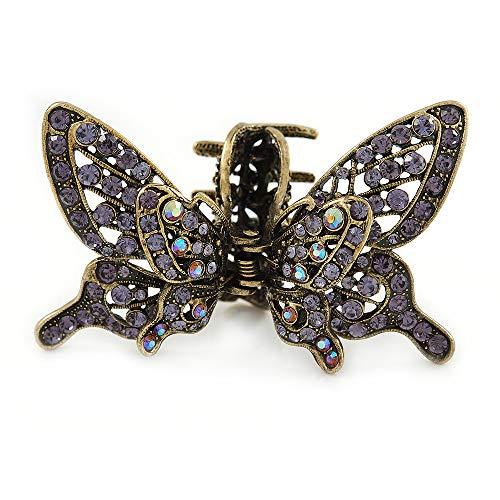 Avalaya - Pinza para el Pelo con diseño de Mariposa de Cristal Morado con alas móviles en Tono Dorado Envejecido, 85 mm