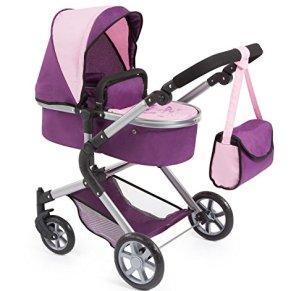 BAYER Landau pour poupée Neo Star prune et rose avec sac a bandouliere et panier d'achat intégré réglable - convertible…