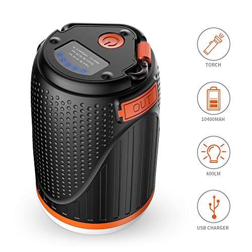 ELEPOWSTAR Lanterna da Campeggio a LED & Power Bank, 2-in-1 Impermeabile 10400 mAh USB...