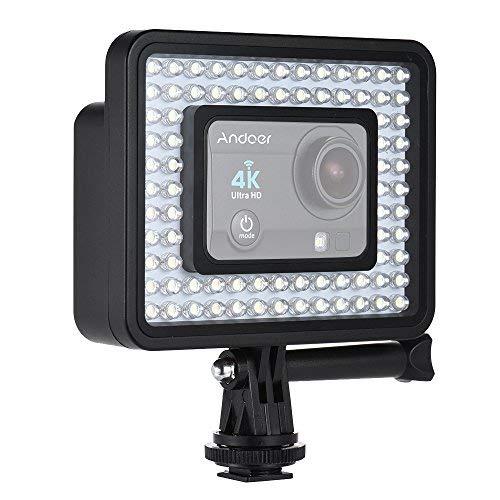 Andoer Action Camera LED Ring Light dimmerabile 80pcs Perline per GoPro Hero 5/4/3 + / 3 SJCam Videocamera sportiva