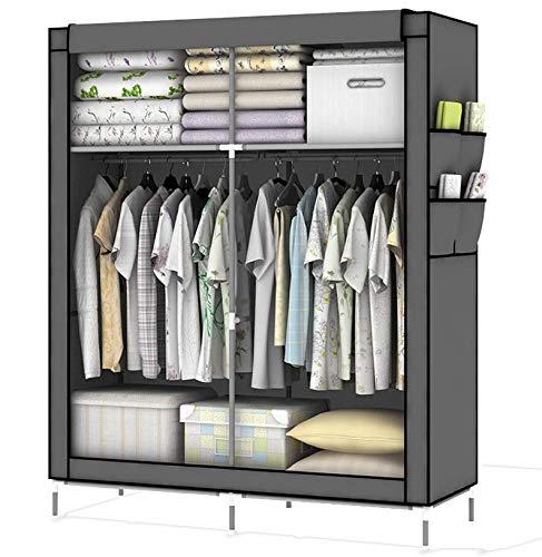 Intirilife Faltschrank 108x170x45 cm in ASCH GRAU - mit Reißverschluss Stoffschrank Kleiderschrank mit Kleiderstange, Fächern und Seitentasche - Camping Steckschrank Textil Garderobe