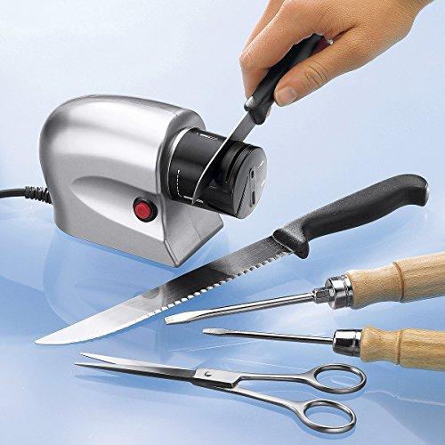 TRI Schleif-Profi, Schleifgerät, Messerschärfer, Schleifmaschine, Messerschleifer, Elektrischer Messerschärfer, Glatt- & Wellenschliff, Kunststoff, 15 x 6 x 9 cm