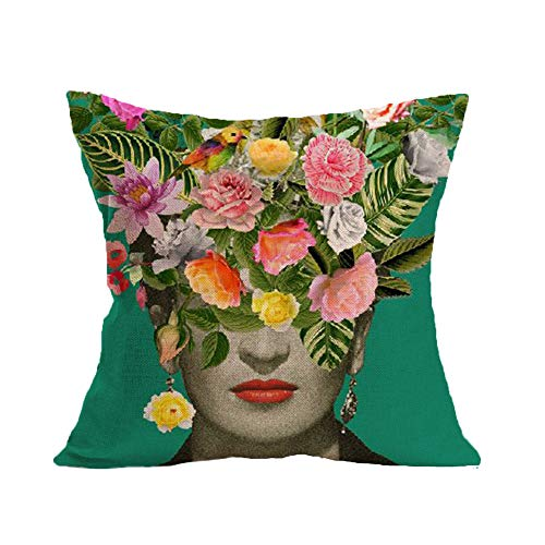 FEIRAN 3D Impreso Frida Kahlo Autorretrato Funda de Almohada de Lino Funda de cojín 15 45X45cm